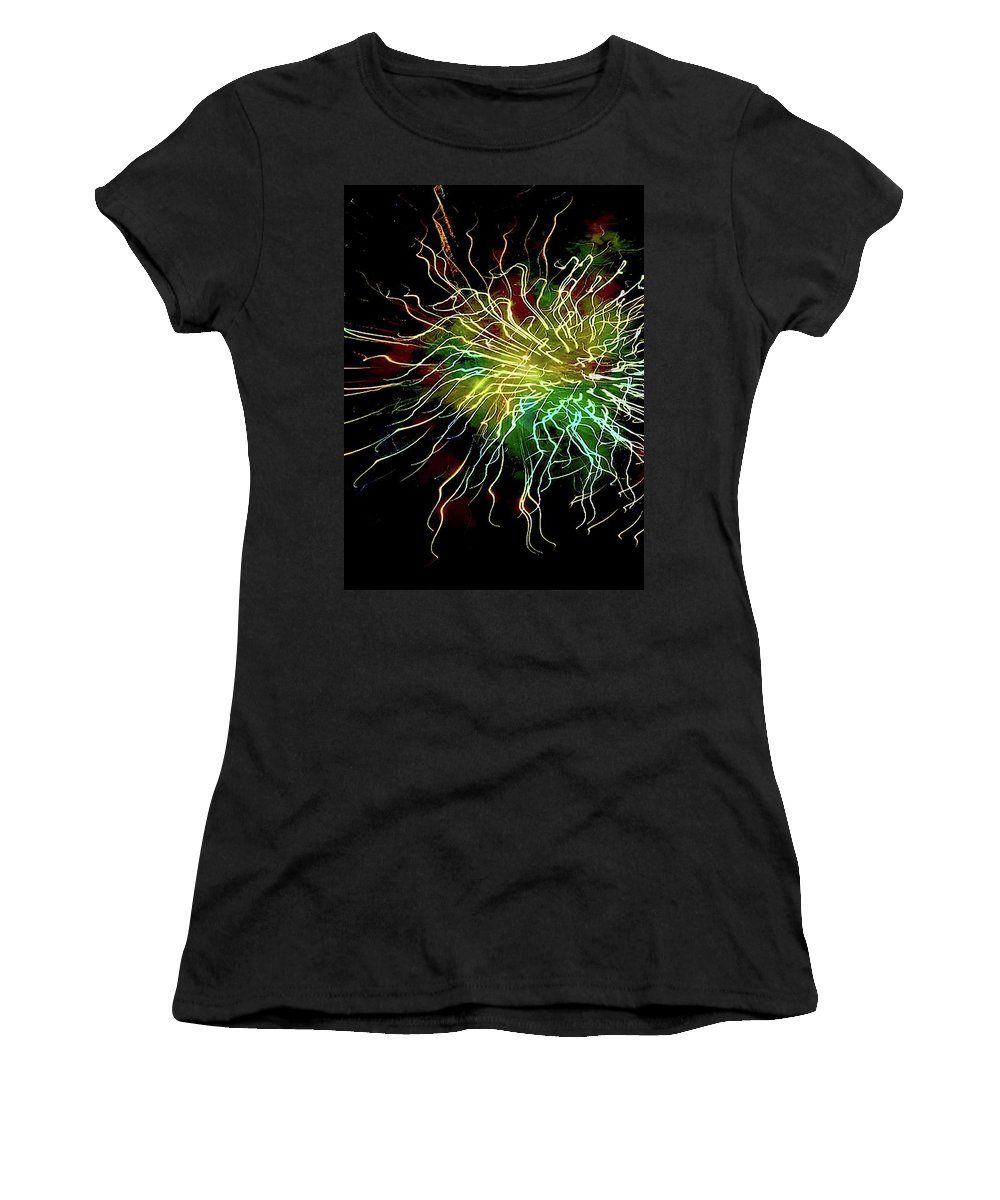 Close Up Photo Fireworks Women's T-Shirt (Athletic Fit) featuring the photograph Fireworks 8 by Joan Reese