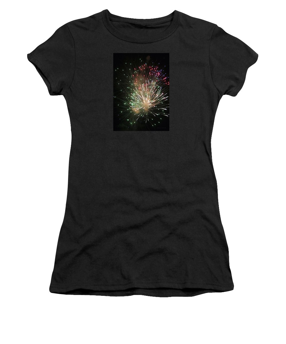 Fireworks Women's T-Shirt (Athletic Fit) featuring the photograph Fireworks by Margie Wildblood