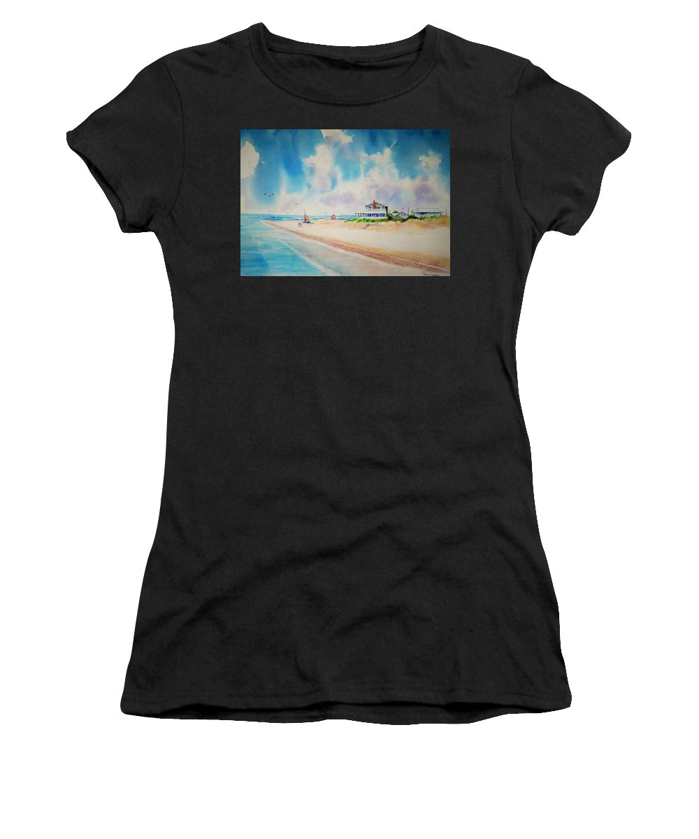 Beach Women's T-Shirt (Athletic Fit) featuring the painting First Day Of Vacation Is Pricless by Tom Harris
