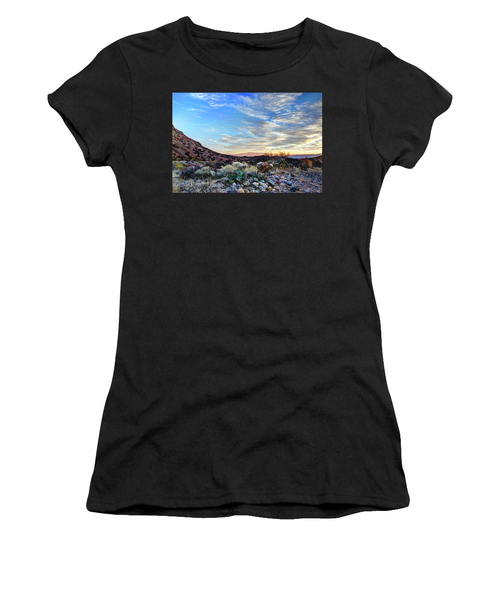 Valley Of Fire Women's T-Shirt (Athletic Fit) featuring the photograph First Light In Valley Of Fire by Zane Kuhle