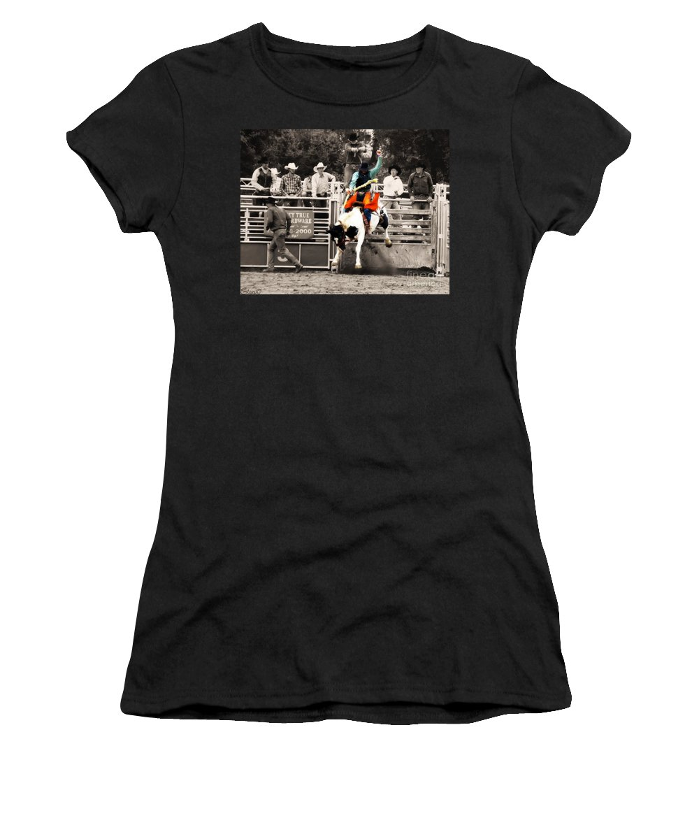 Cowboy Women's T-Shirt featuring the photograph First Out Of The Chute by September Stone
