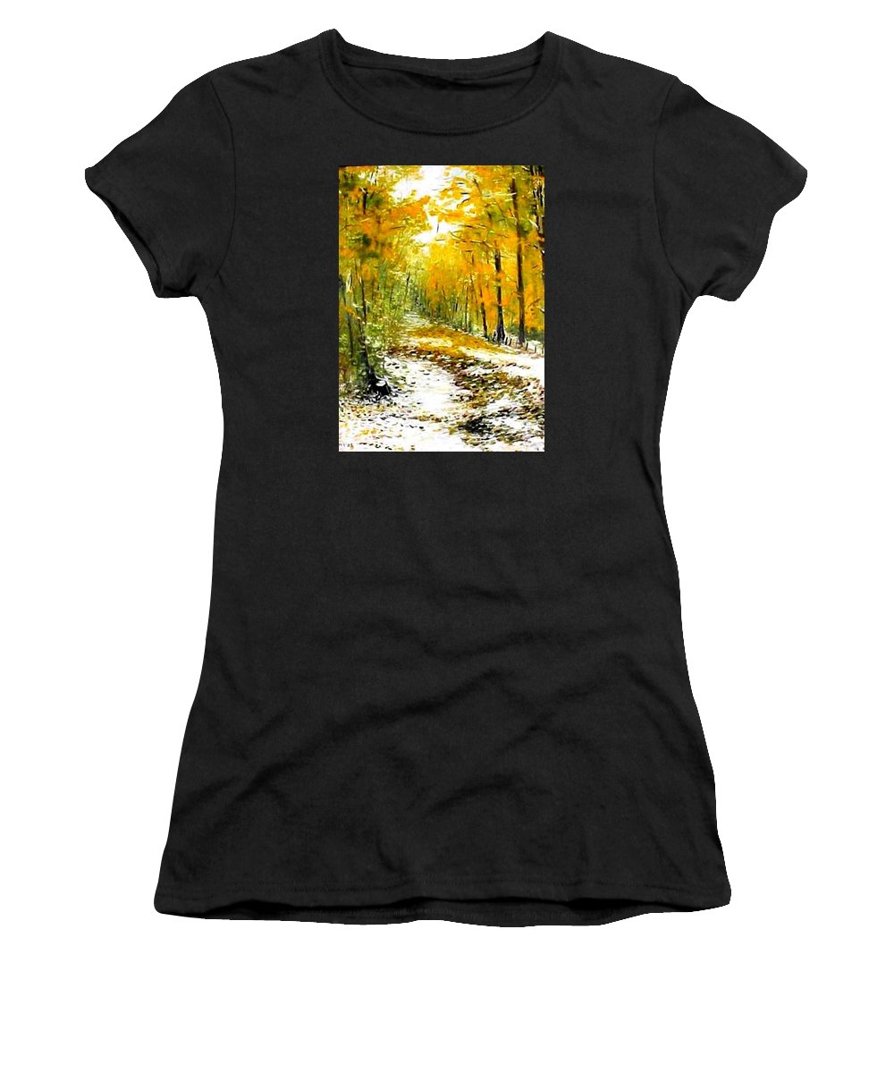 Landscape Women's T-Shirt (Athletic Fit) featuring the painting First Snow by Boris Garibyan