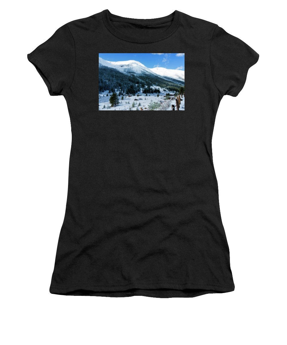 Abandoned Women's T-Shirt (Athletic Fit) featuring the photograph First Snow by Joan Carroll