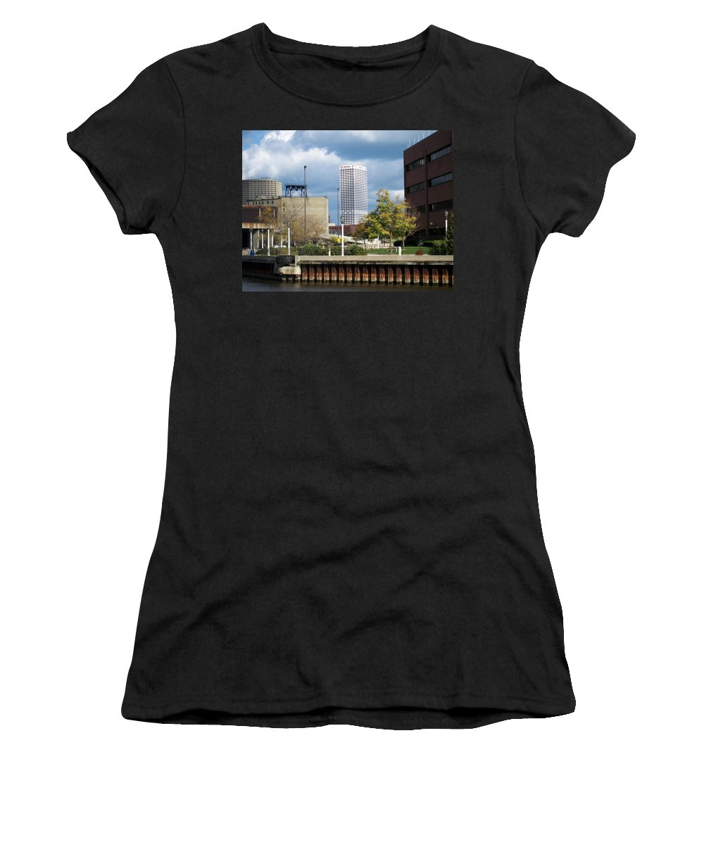 First Star Bank Women's T-Shirt (Athletic Fit) featuring the photograph First Star View From River by Anita Burgermeister