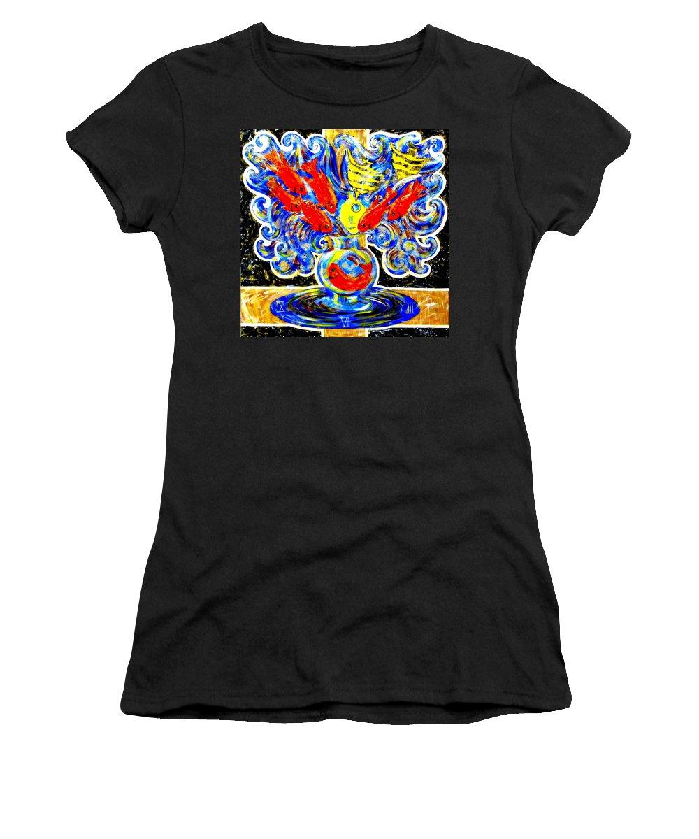 Inga Vereshchagina Women's T-Shirt (Athletic Fit) featuring the painting Fish Bouquet by Inga Vereshchagina