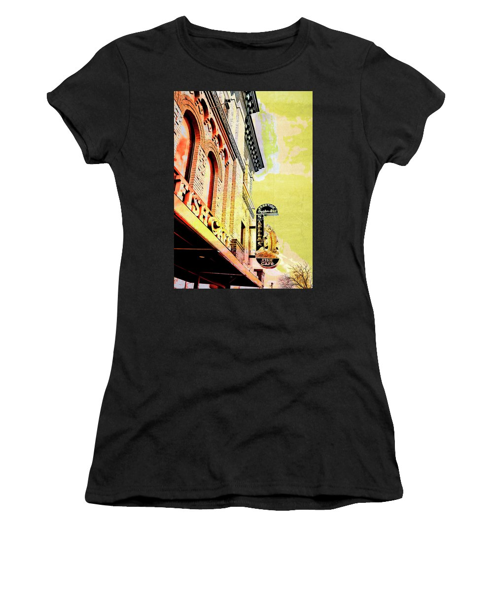 Uptown Women's T-Shirt (Athletic Fit) featuring the digital art Fish Cafe by Susan Stone