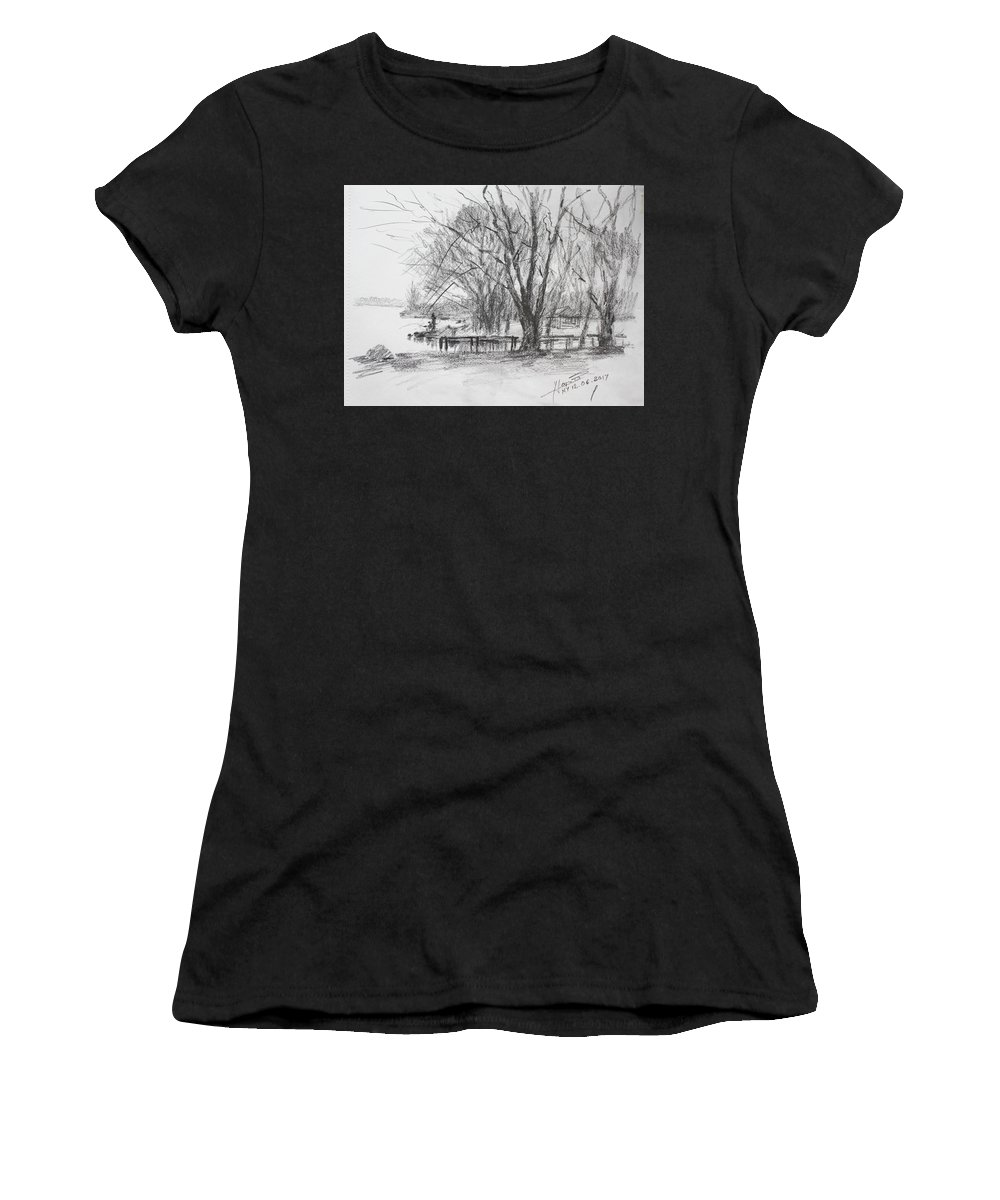 Drawing Women's T-Shirt (Athletic Fit) featuring the drawing Fisherman's Park by Ylli Haruni