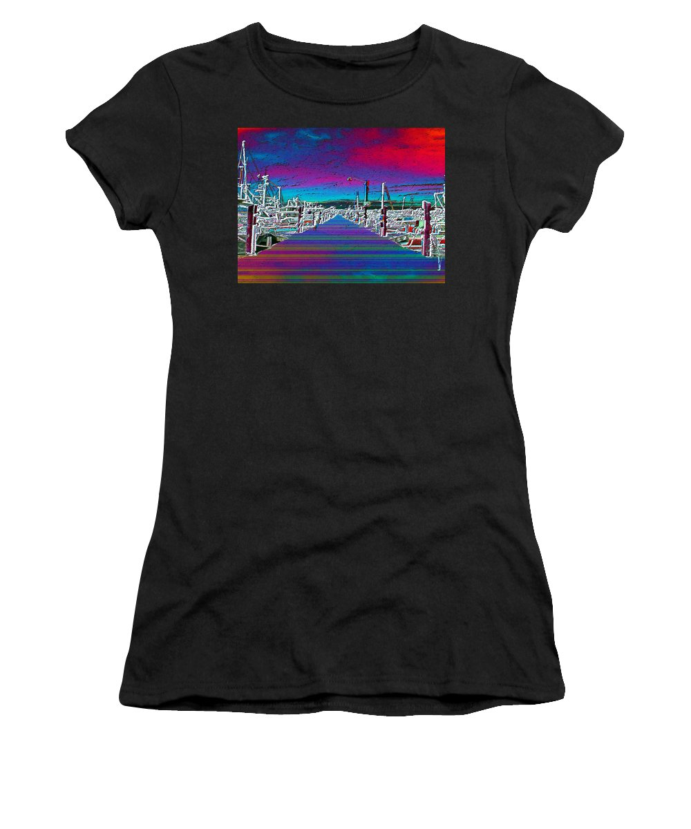 Seattle Women's T-Shirt (Athletic Fit) featuring the photograph Fishermans Terminal Pier by Tim Allen