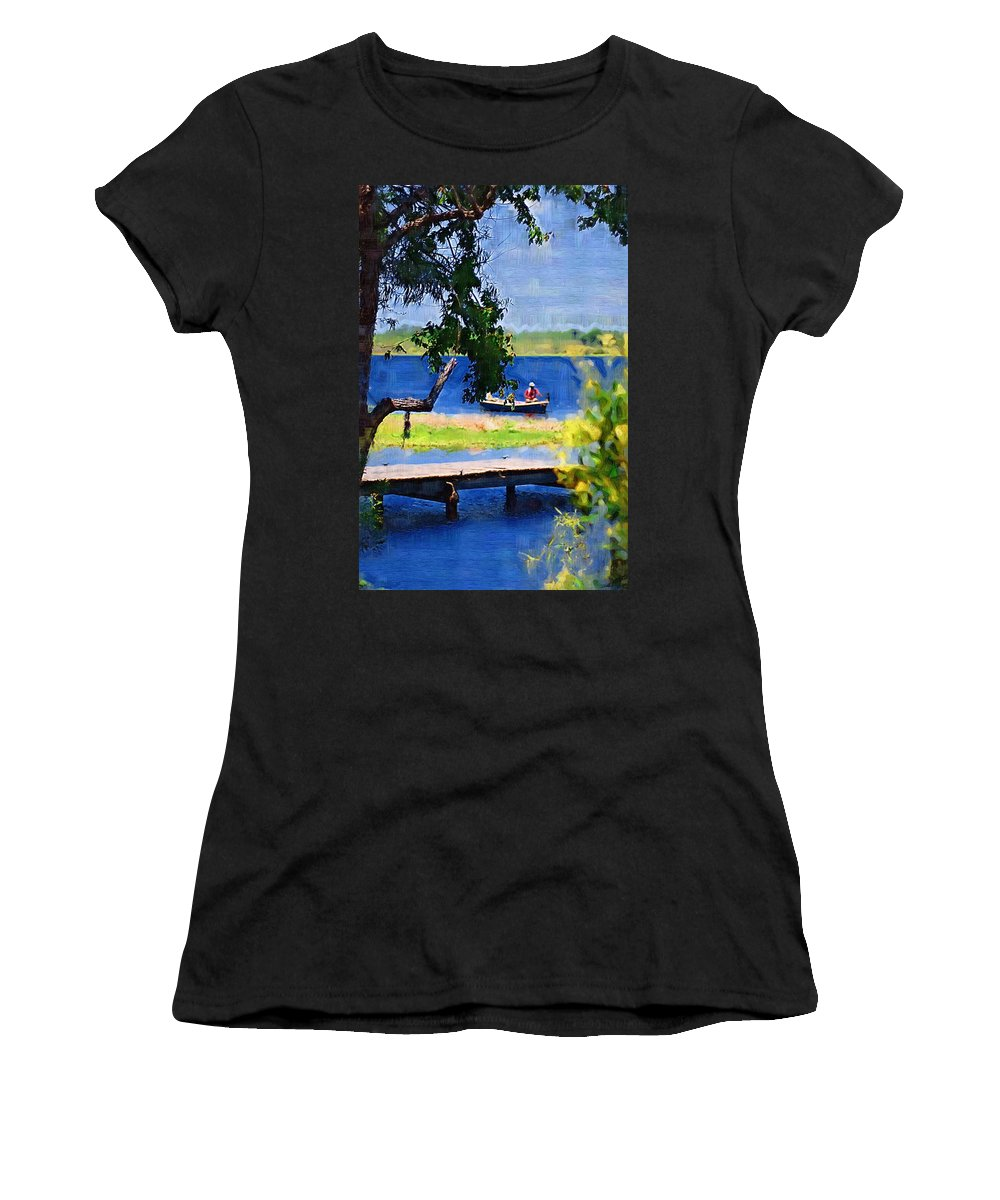 Ponds Women's T-Shirt (Athletic Fit) featuring the photograph Fishin by Donna Bentley