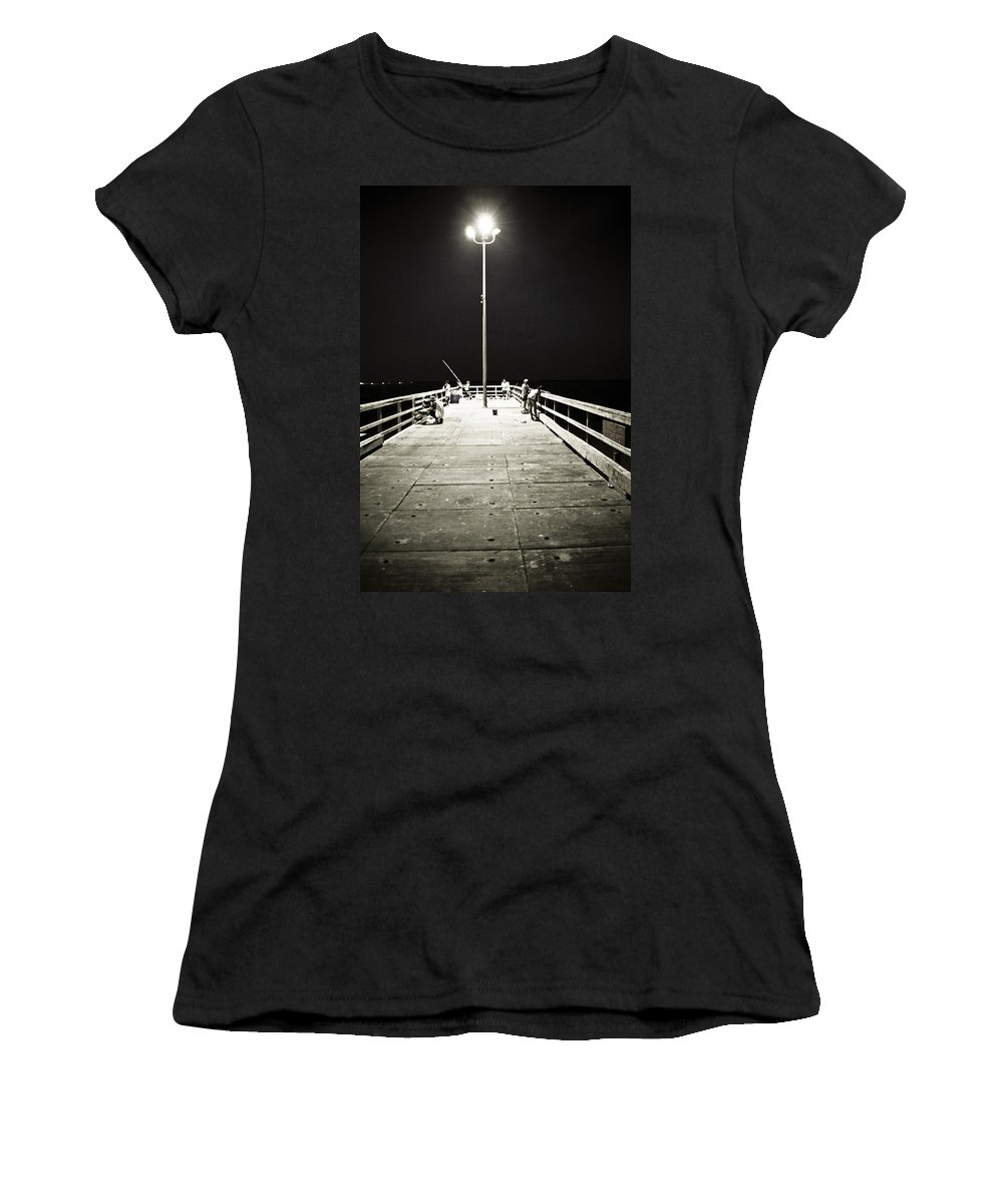 Americana Women's T-Shirt (Athletic Fit) featuring the photograph Fishing At Night by Marilyn Hunt