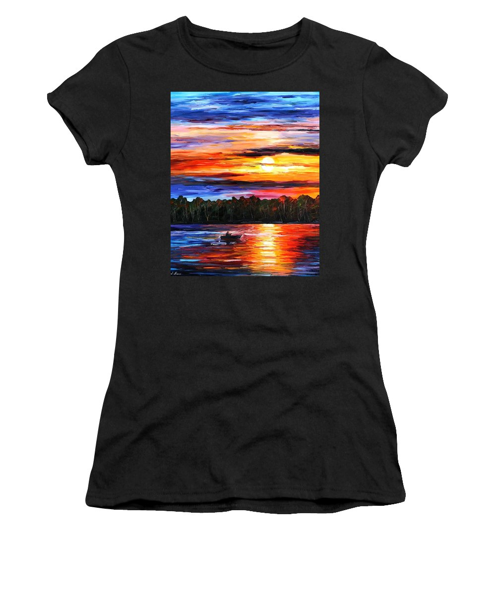 Afremov Women's T-Shirt (Athletic Fit) featuring the painting Fishing By Sunset by Leonid Afremov