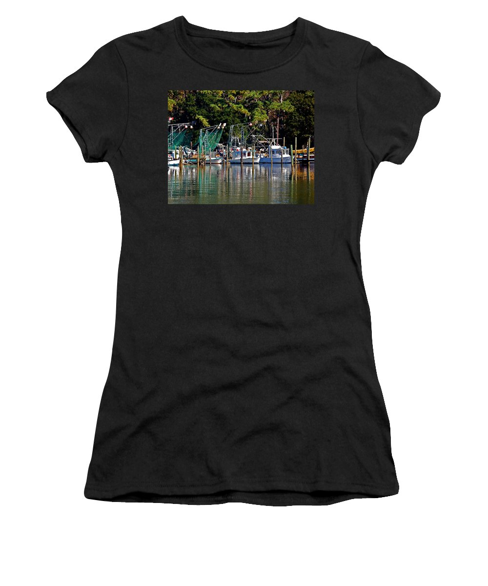 Shrimp Boat Women's T-Shirt (Athletic Fit) featuring the painting Fishing Fleet by Michael Thomas