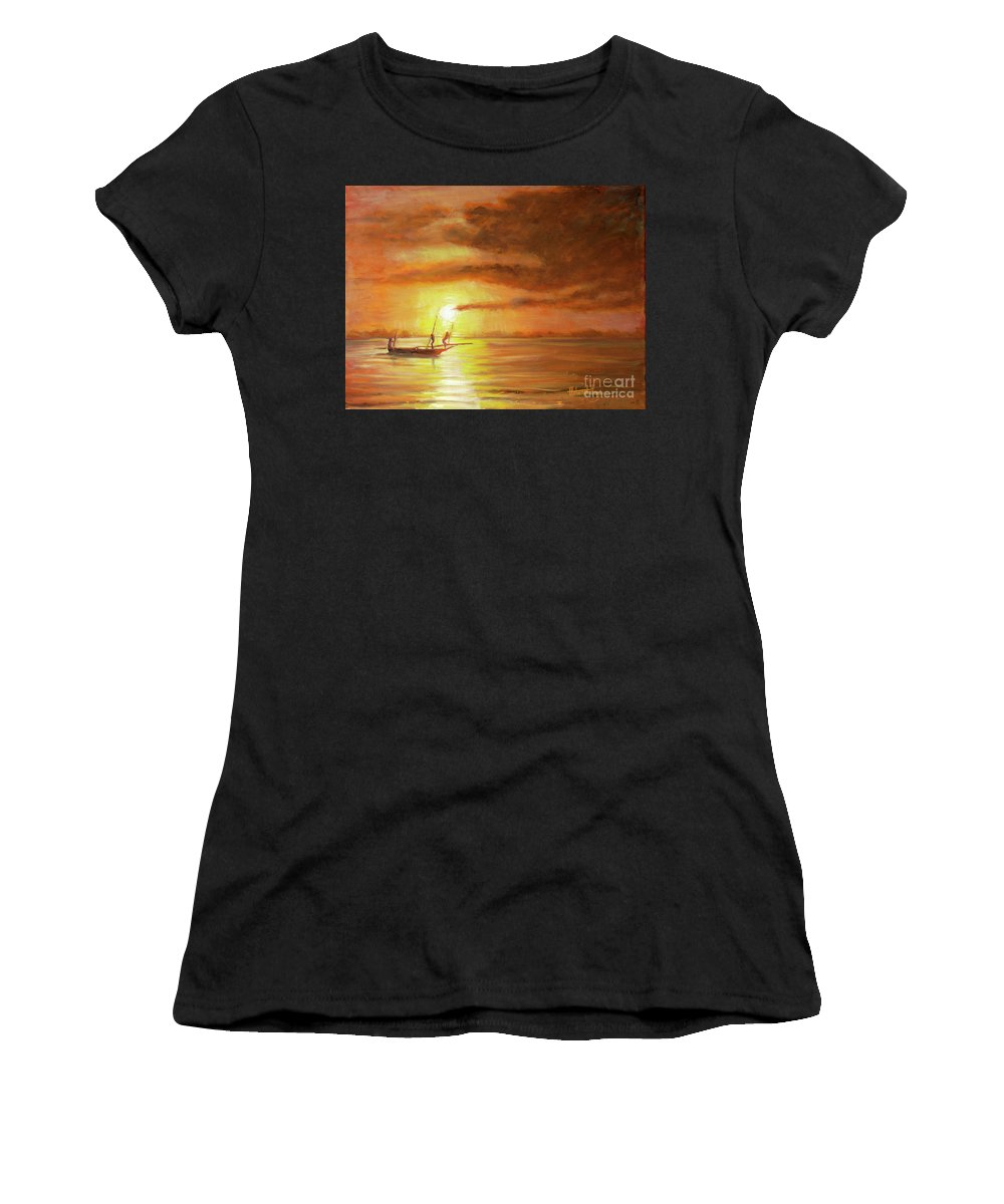 Fishermen Women's T-Shirt (Athletic Fit) featuring the painting Fishing In Zanzibar by Mohamed Hirji