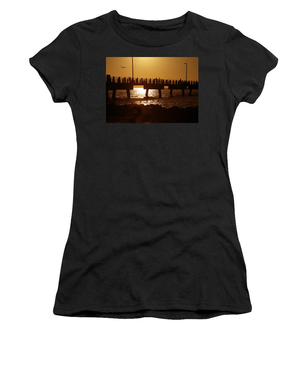 Fort De Soto Women's T-Shirt (Athletic Fit) featuring the photograph Fishing Off The Pier At Fort De Soto At Dusk by Mal Bray