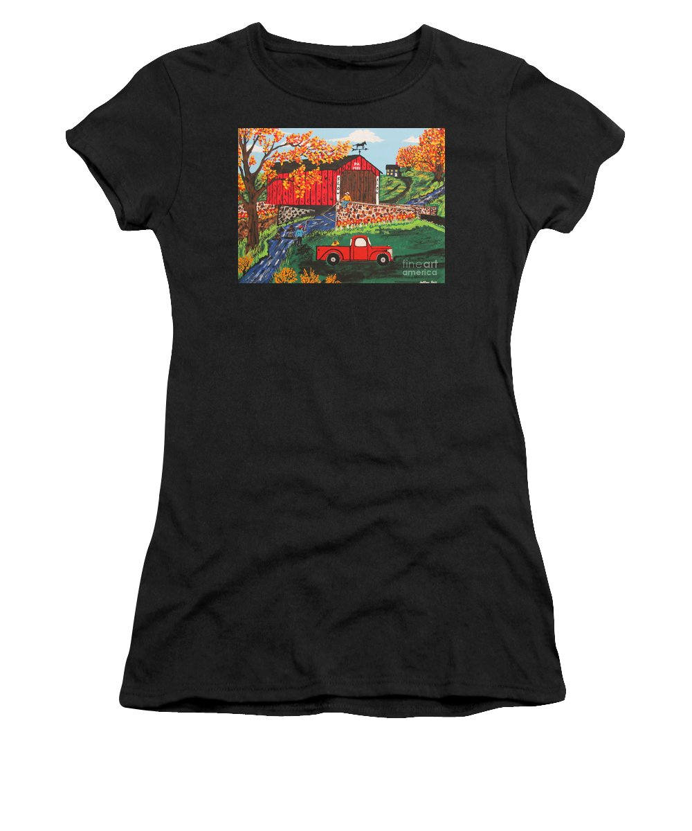 Country Art Women's T-Shirt (Athletic Fit) featuring the painting Fishing Under The Covered Bridge by Jeffrey Koss