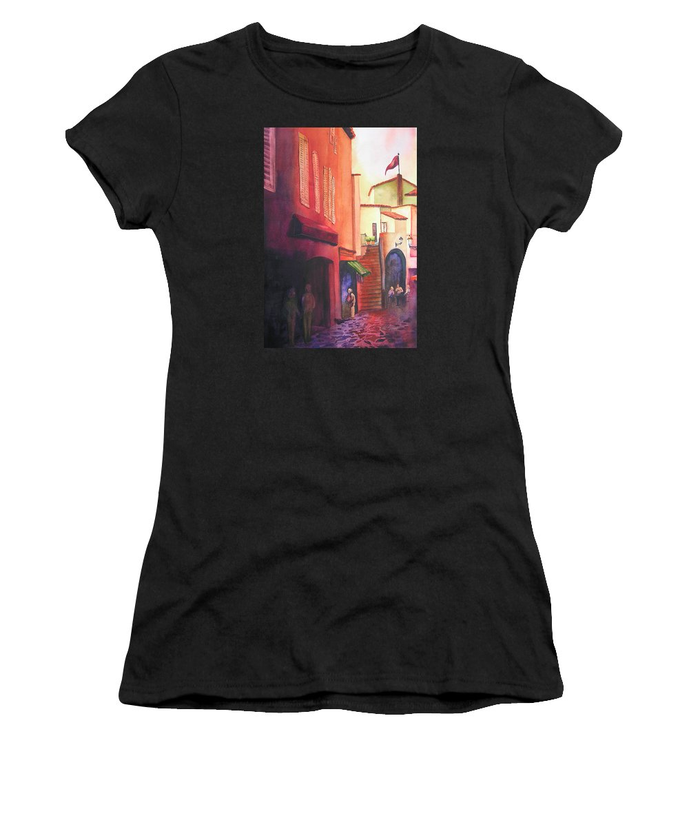 Europe Women's T-Shirt (Athletic Fit) featuring the painting Flag Over St. Tropez by Karen Stark