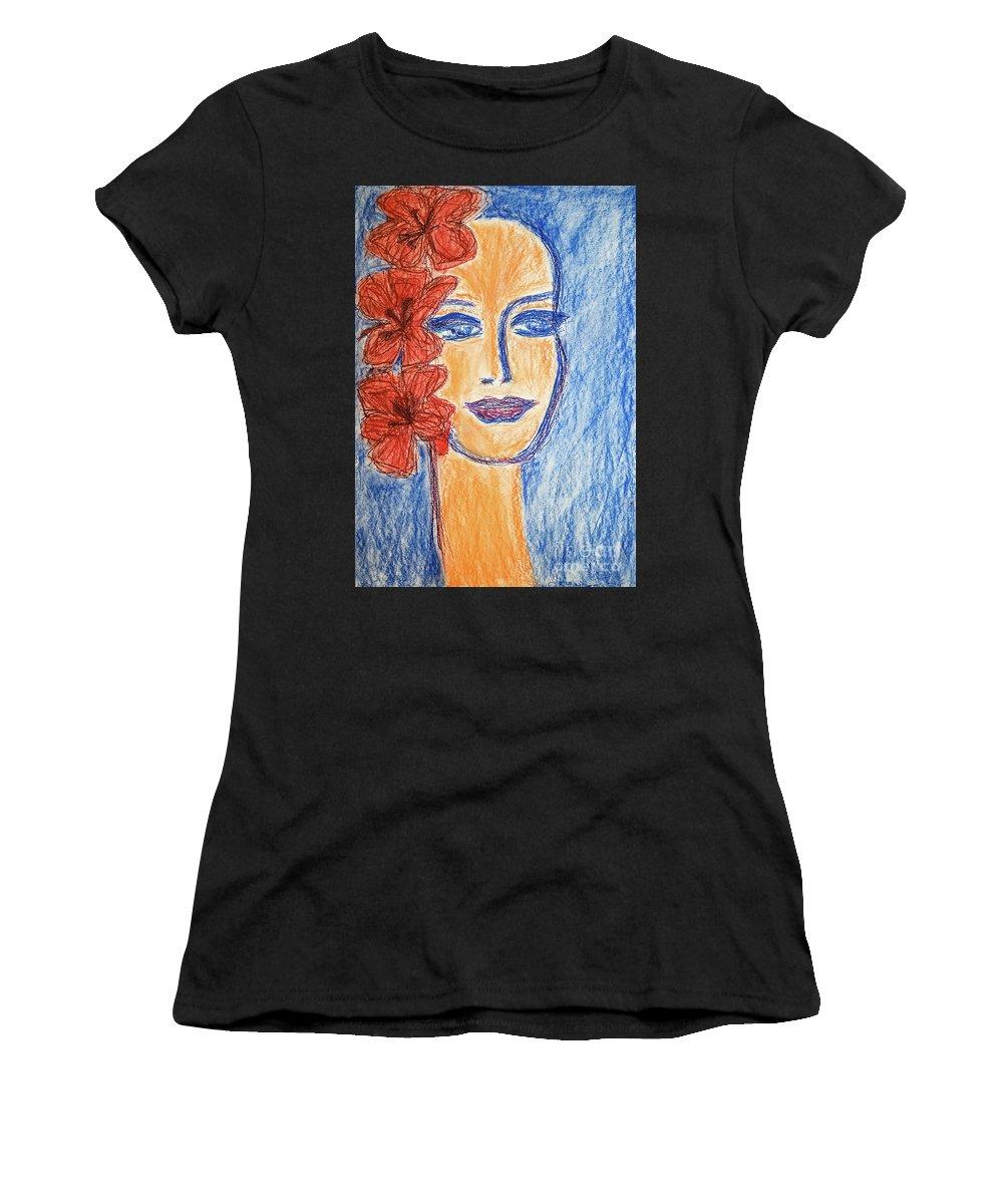 Portrait Women's T-Shirt featuring the painting Flamenco Nights - Alicia by Lara Azurra