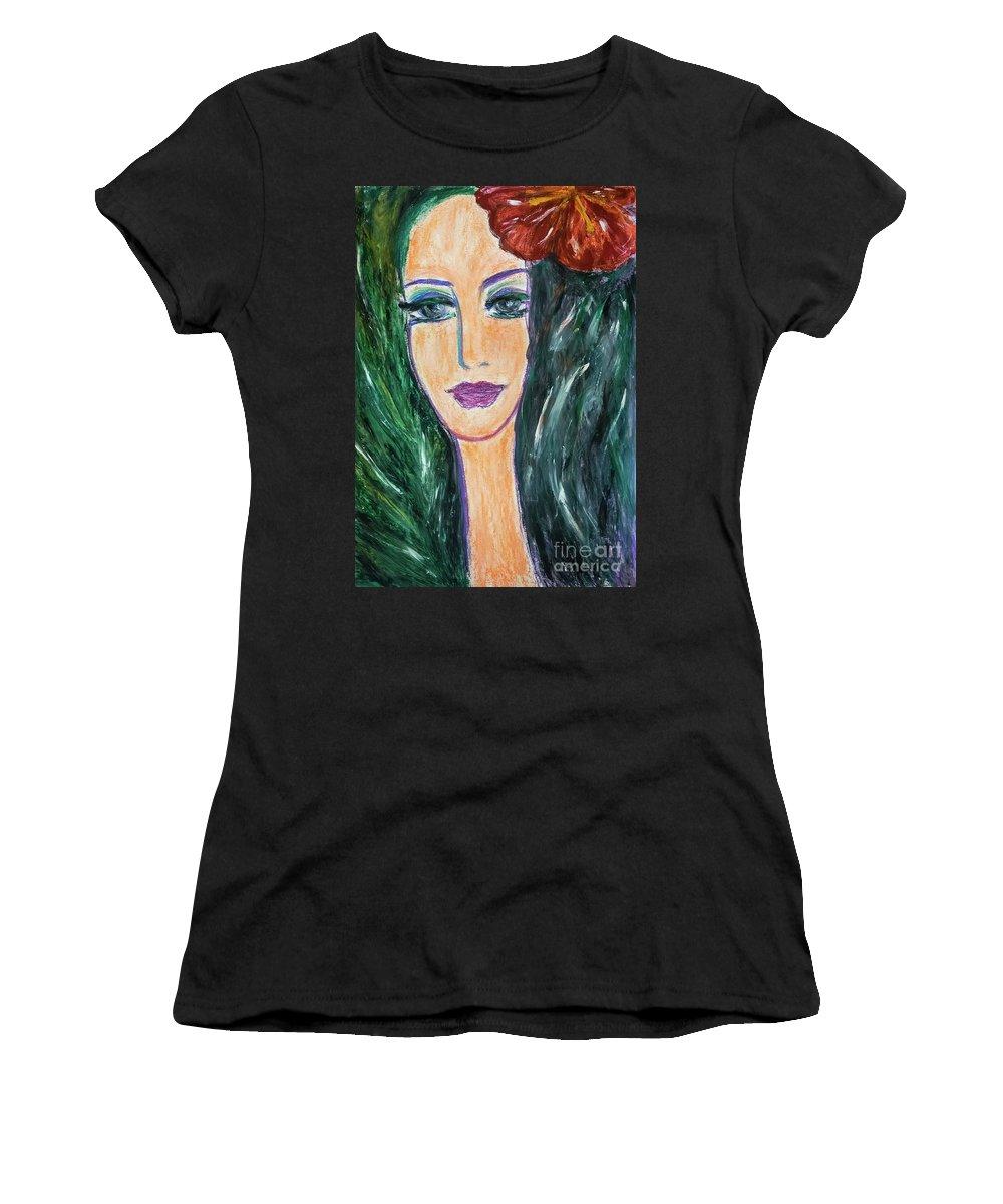 Portrait Women's T-Shirt featuring the painting Flamenco Nights - Madalena by Lara Azurra