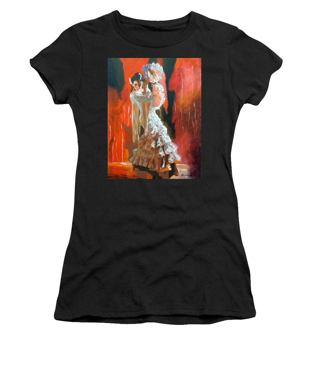Dancing Women's T-Shirt (Athletic Fit) featuring the painting Flamigo Dancing by Jose Manuel Abraham