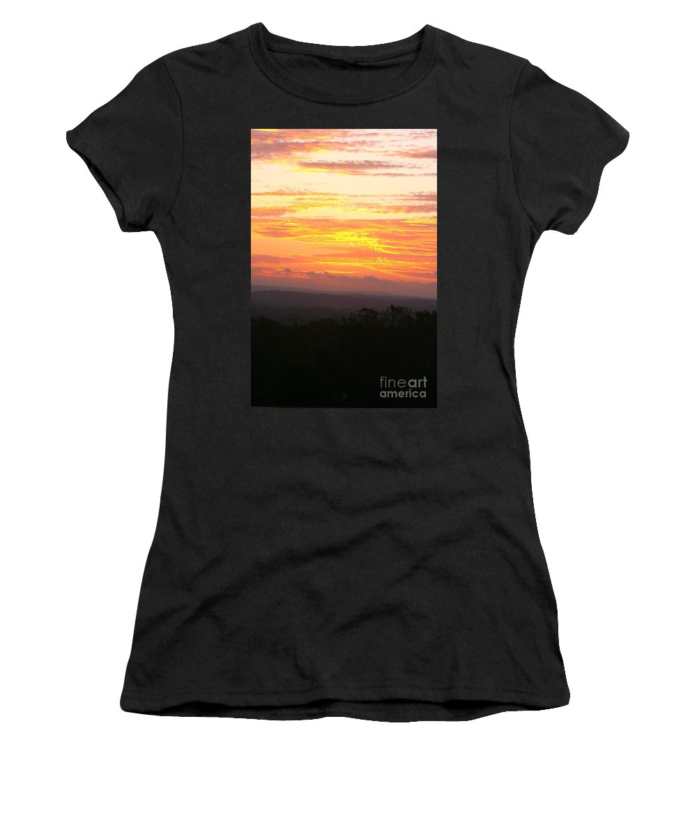 Sunrise Women's T-Shirt (Athletic Fit) featuring the photograph Flaming Autumn Sunrise by Nadine Rippelmeyer