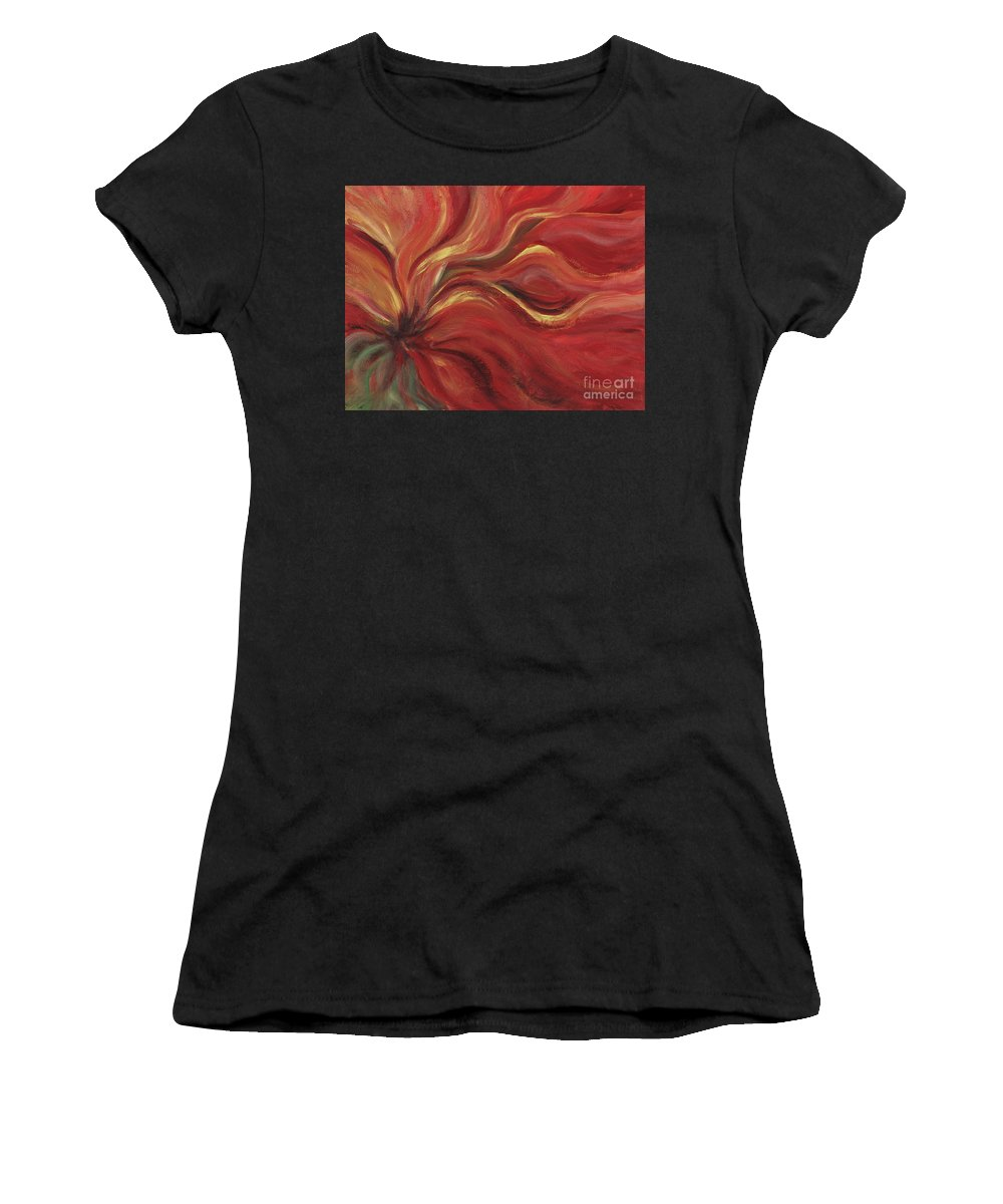 Red Women's T-Shirt (Athletic Fit) featuring the painting Flaming Flower by Nadine Rippelmeyer