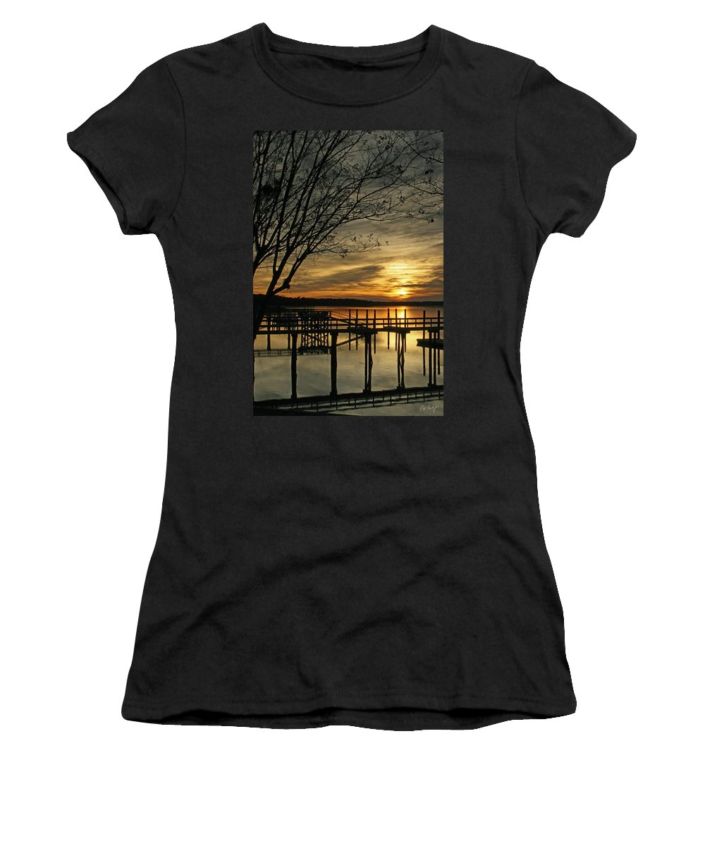 Sunset Women's T-Shirt (Athletic Fit) featuring the photograph Flat Water by Phill Doherty