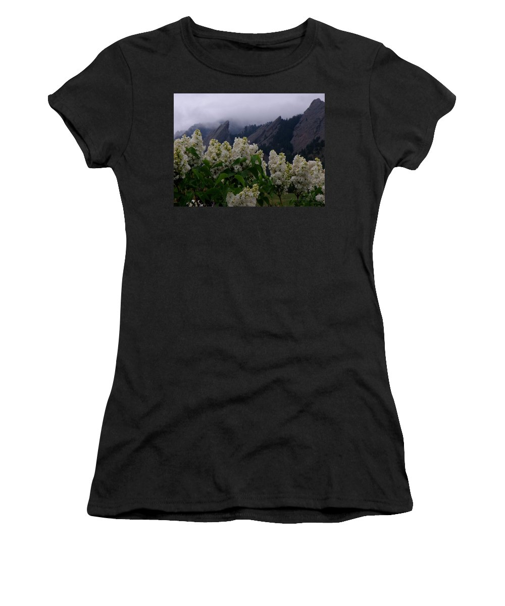 Flatirons Boulder Colorado Lilacs Flowers Spring Landscapes Misty Spring Women's T-Shirt (Athletic Fit) featuring the photograph Flatirons White Lilacs by George Tuffy