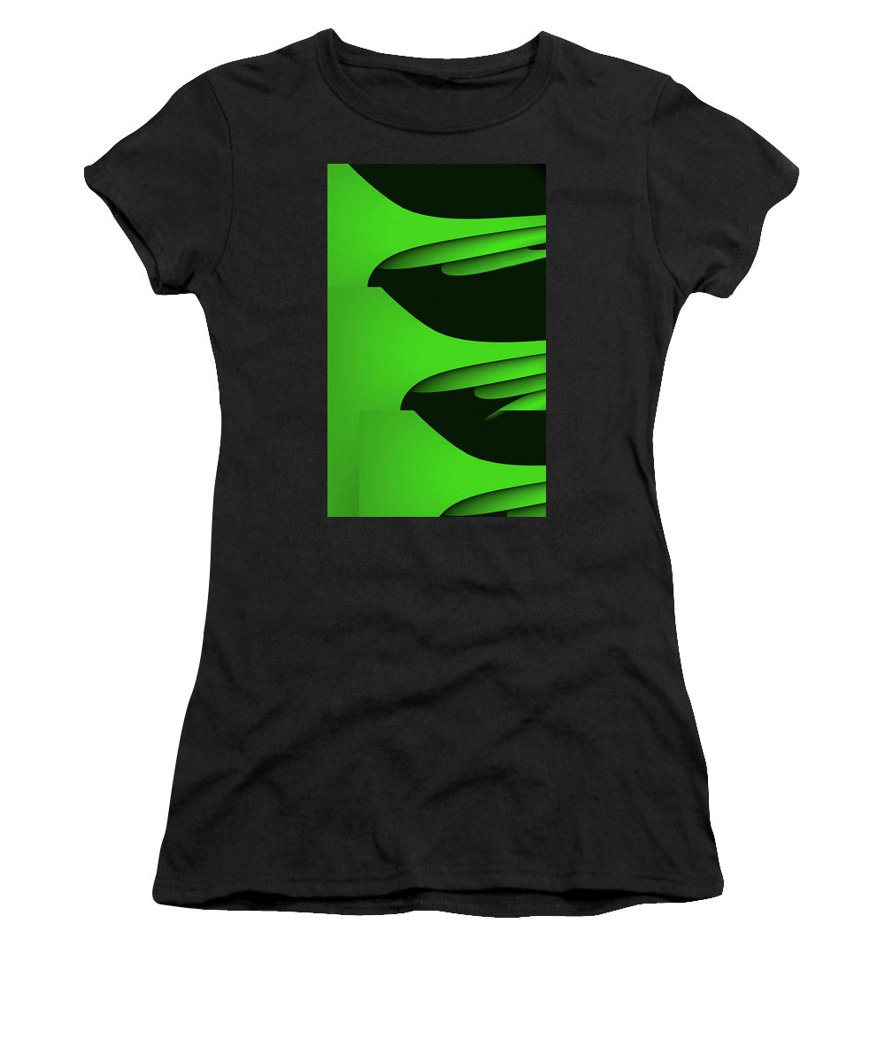 Green Women's T-Shirt (Athletic Fit) featuring the mixed media Flight - Green Version by Barry King