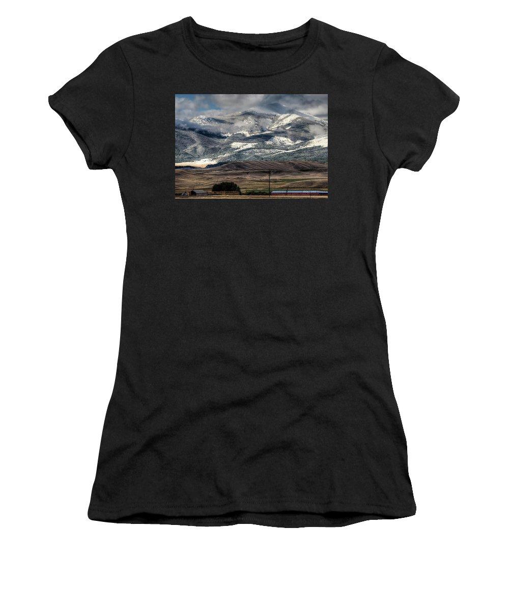 Mountains Women's T-Shirt featuring the photograph Flint Ridge Range, Deer Lodge, Mt by Greg Sigrist