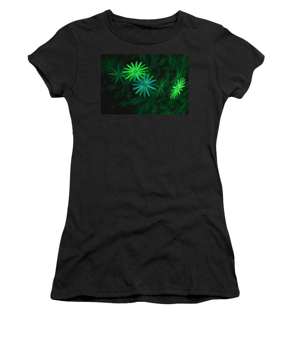 Digital Photography Women's T-Shirt featuring the digital art Floating Floral-007 by David Lane