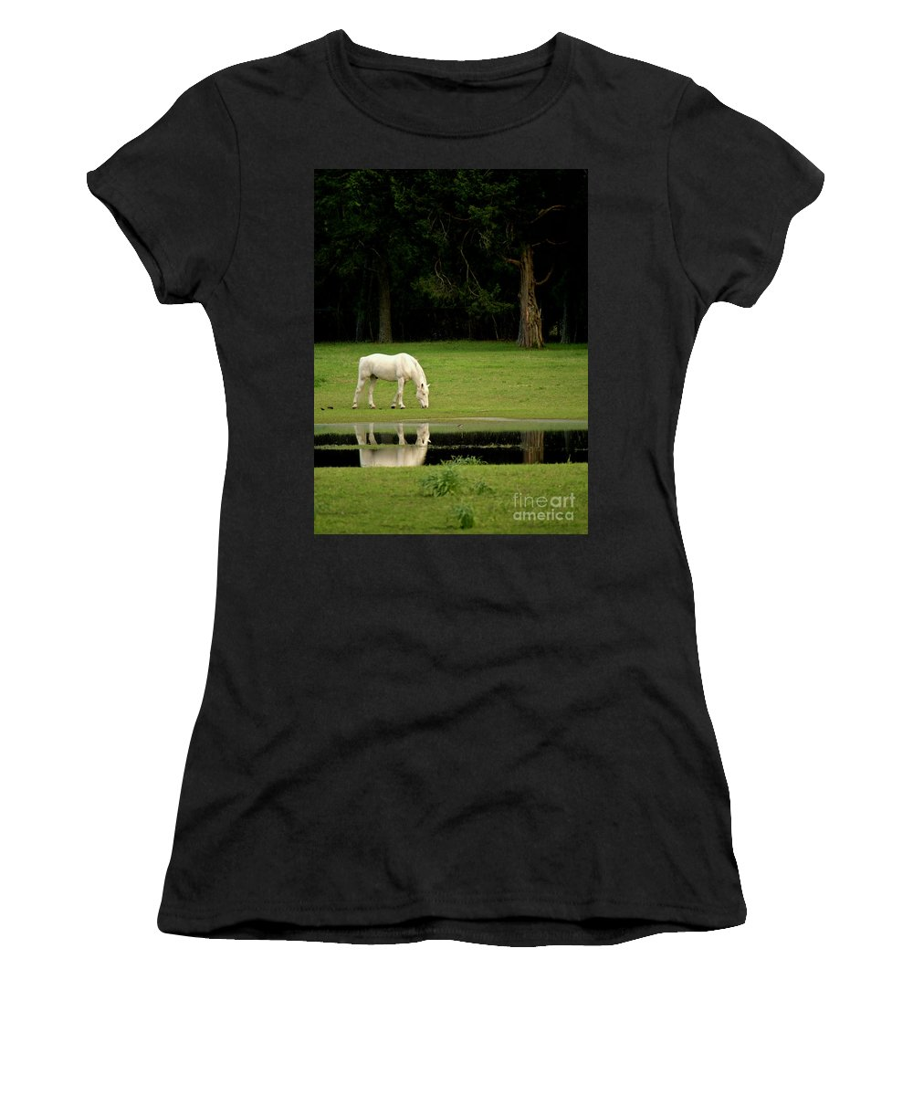 Horse Women's T-Shirt (Athletic Fit) featuring the photograph Flooded Field In May by Rachel Morrison