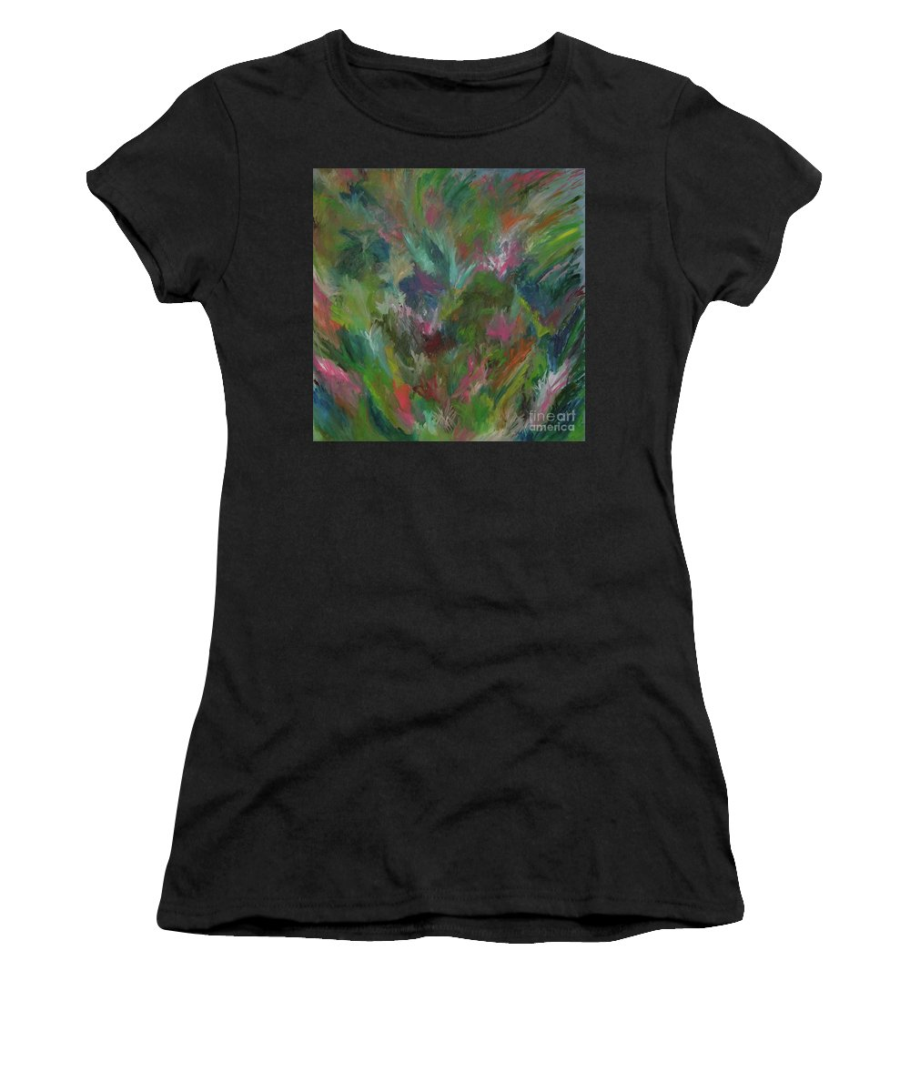 Floral Women's T-Shirt (Athletic Fit) featuring the painting Floral Abstraction by Cori Solomon