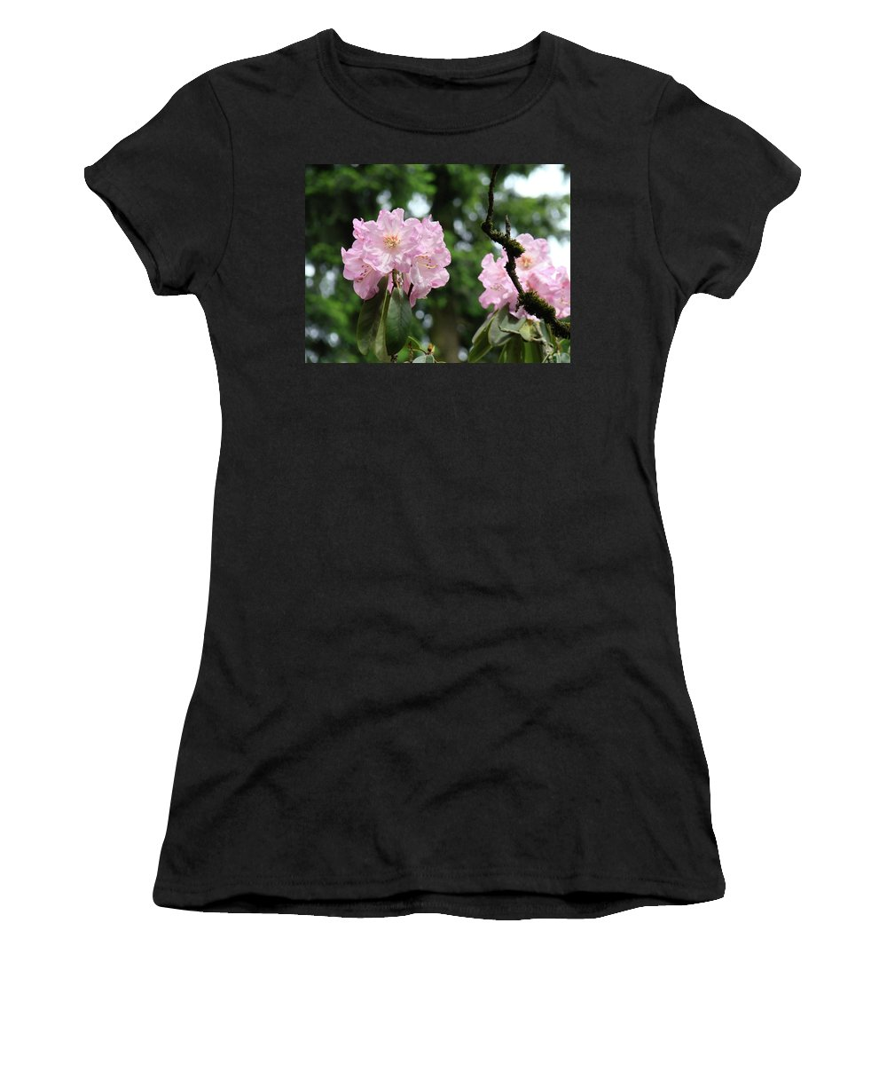 Rhodies Women's T-Shirt featuring the photograph Floral Garden Pink Rhododendron Flowers Baslee Troutman by Baslee Troutman