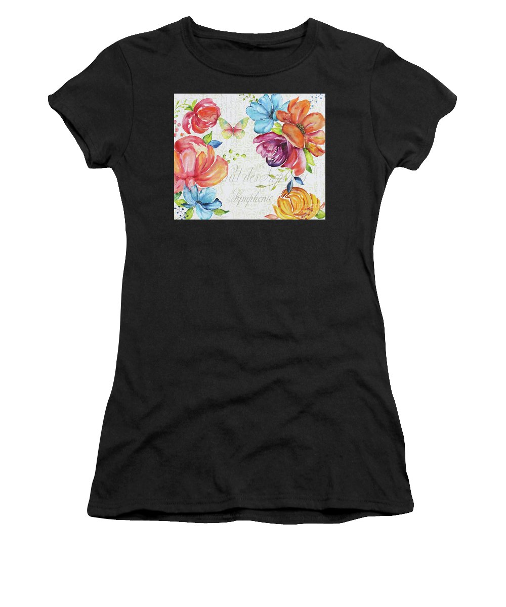 Floral Women's T-Shirt featuring the painting Floral Symphonie by Jean Plout