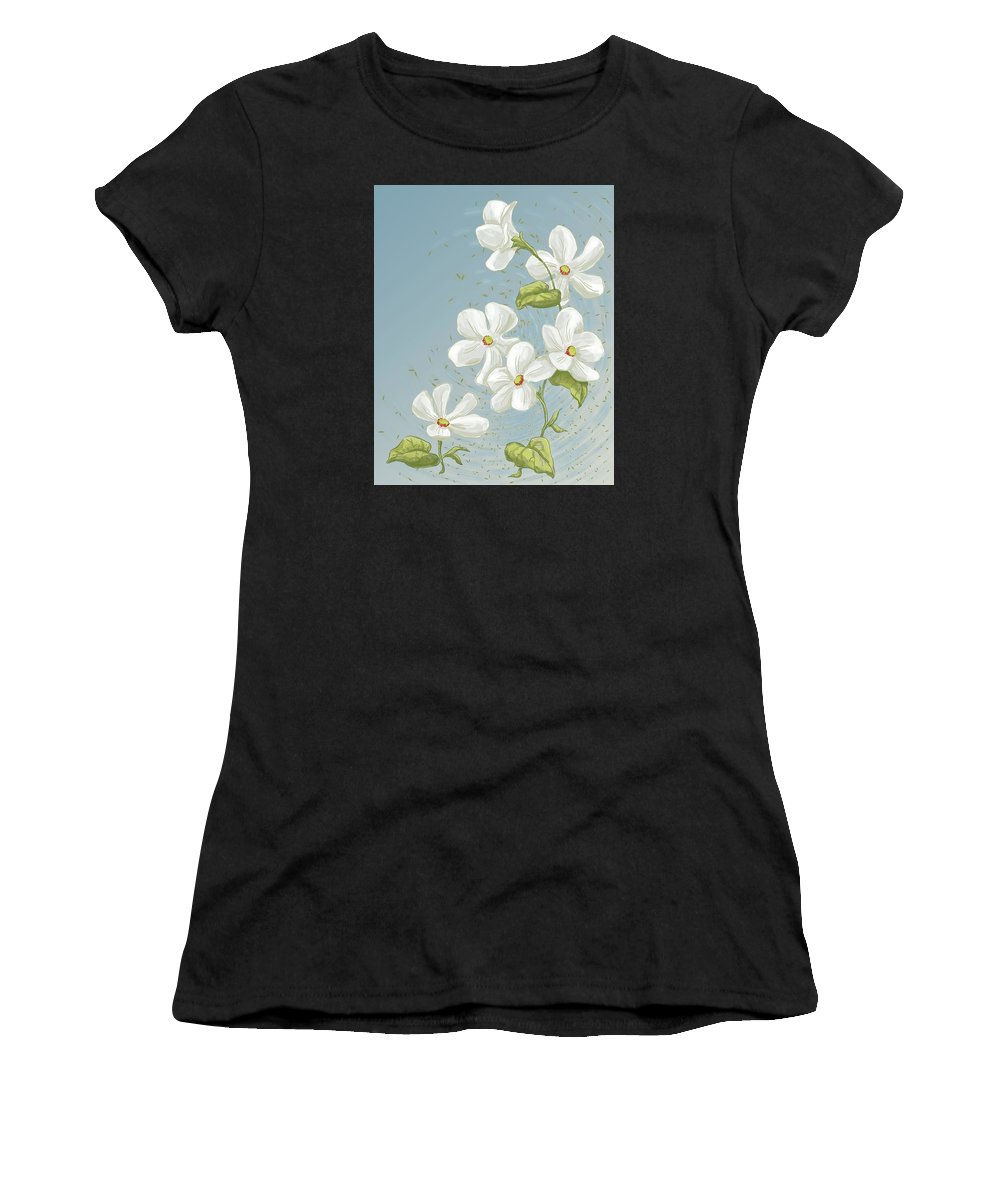 Floral Women's T-Shirt (Athletic Fit) featuring the painting Floral Whorl by Alison Stein