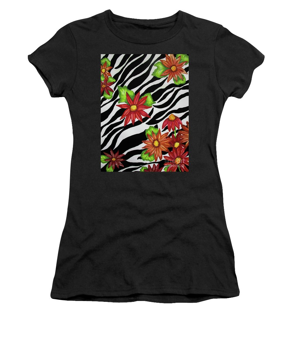 Flowers Women's T-Shirt featuring the mixed media Floral Zebra Print by Dawn Siegler