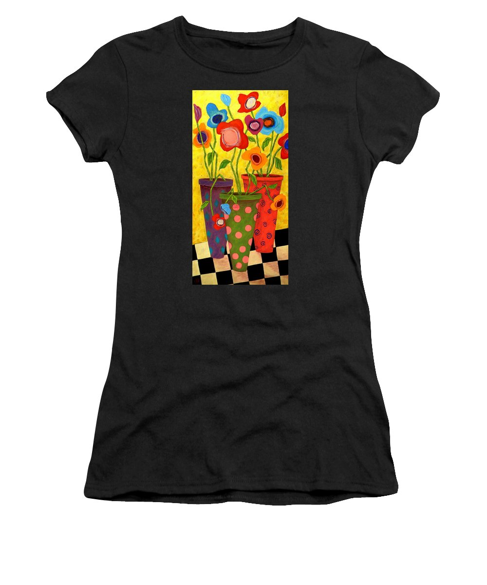Still Life Women's T-Shirt (Athletic Fit) featuring the painting Floralicious by John Blake