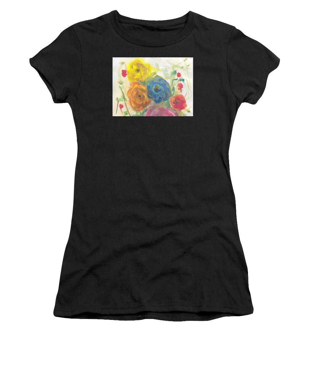 Floral Abstract Watercolor Women's T-Shirt featuring the painting Flores by Ivonne Sequera