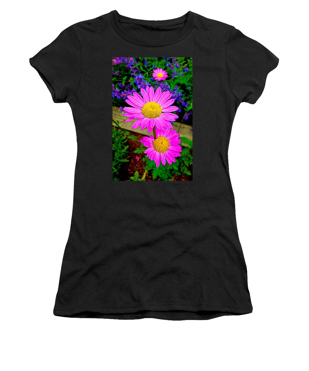 Daisies Women's T-Shirt (Athletic Fit) featuring the photograph Florescent Daisies by Robert Meyers-Lussier