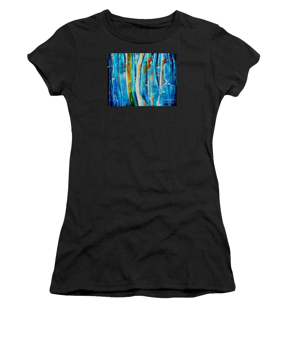 Blue Forest Women's T-Shirt (Athletic Fit) featuring the painting Floresta Azul by Fernanda Cruz