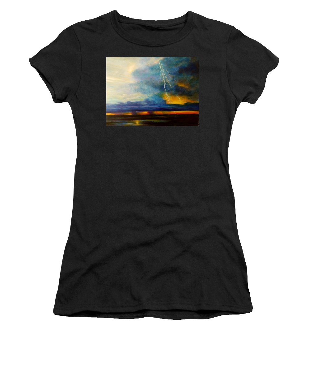 Blue With Deep Purple Women's T-Shirt (Athletic Fit) featuring the painting Florida Seascape by Larry Palmer