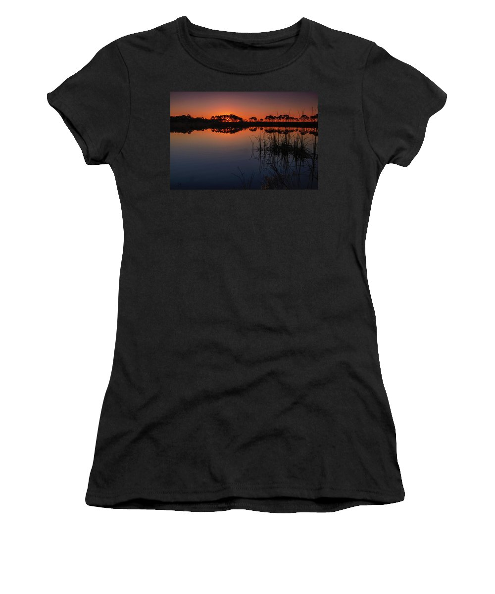 St. Andrews State Park Women's T-Shirt (Athletic Fit) featuring the photograph Florida Sunrise by Charlie Choc