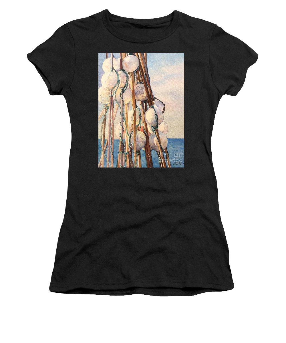 Flotteur Women's T-Shirt featuring the painting Flotteurs by Francoise Chauray