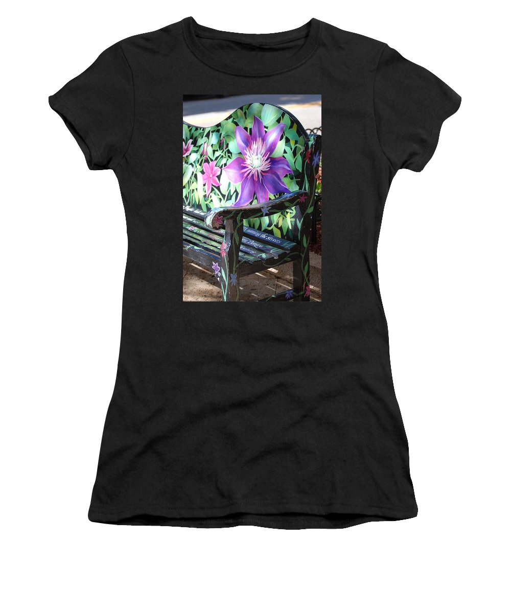 Macro Women's T-Shirt (Athletic Fit) featuring the photograph Flower Bench by Rob Hans