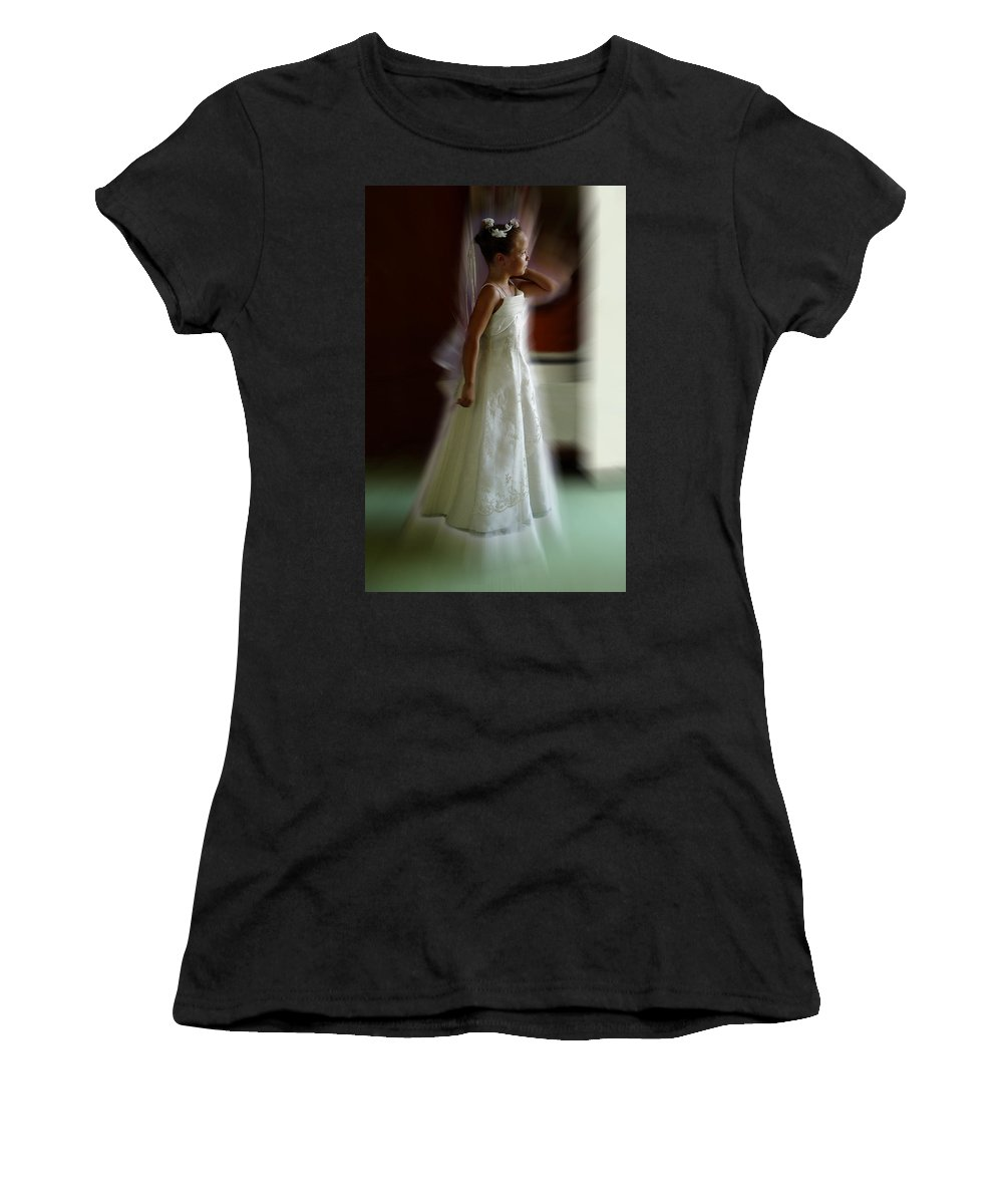Flower Girl Women's T-Shirt (Athletic Fit) featuring the photograph Flower Girl by Peter Piatt