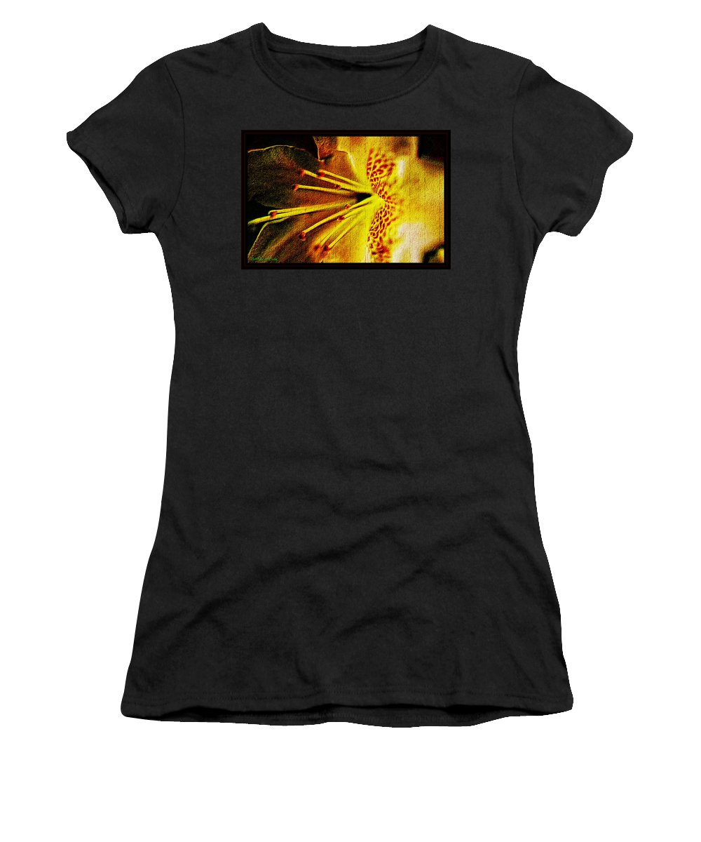 Floral Women's T-Shirt featuring the mixed media Flower In Abstraction Art by Debra Lynch