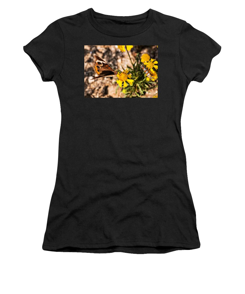 Butterfly Women's T-Shirt (Athletic Fit) featuring the photograph Flower Power Bug And Butterfly by Gary Adkins