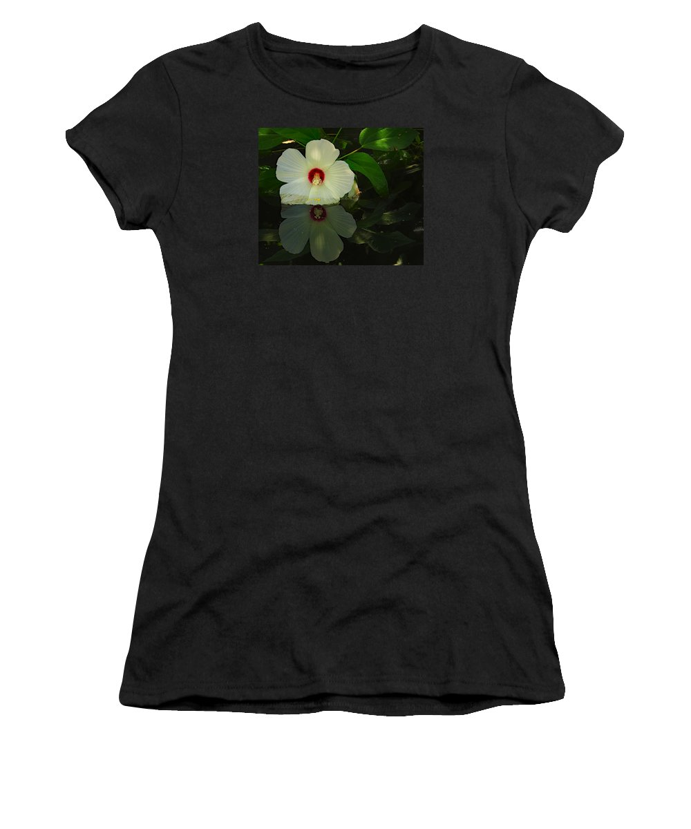 Ann Keisling Women's T-Shirt (Athletic Fit) featuring the photograph Flower Reflection by Ann Keisling