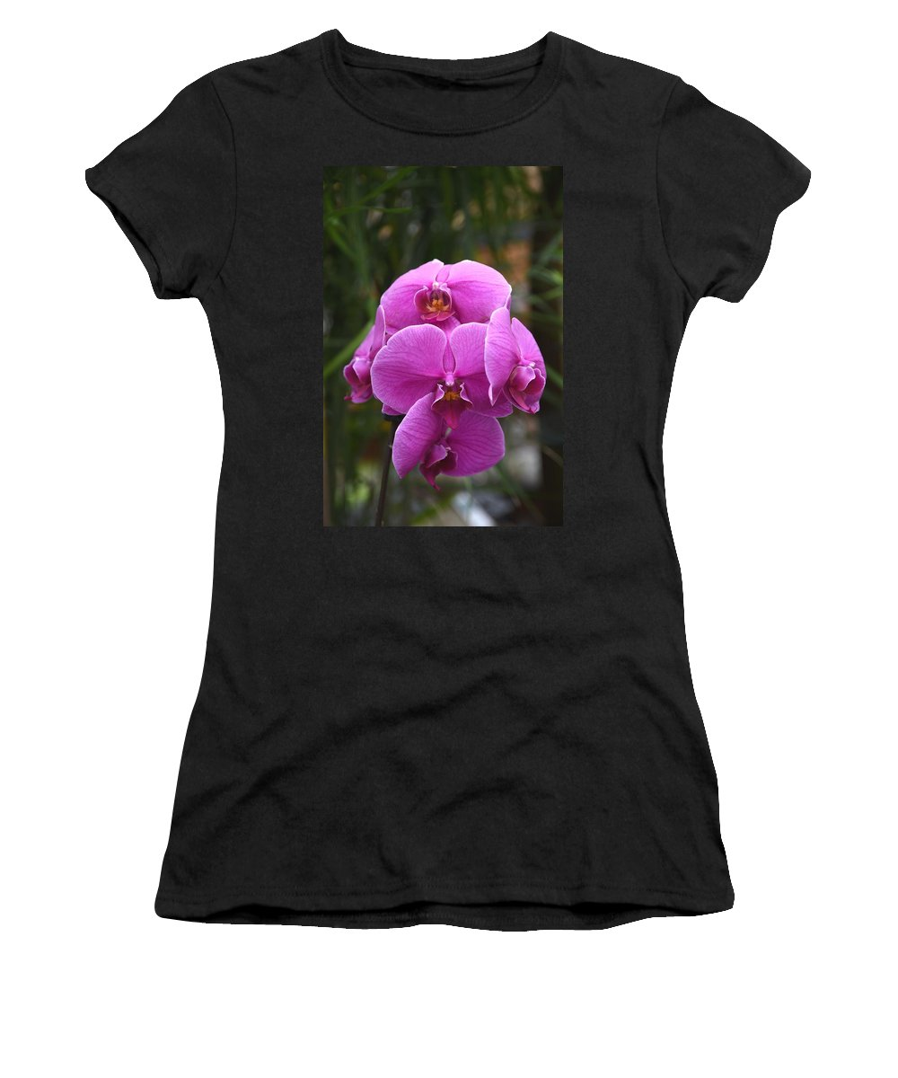 Orchids Photos Women's T-Shirt (Athletic Fit) featuring the photograph Flowers 822 by Joyce StJames