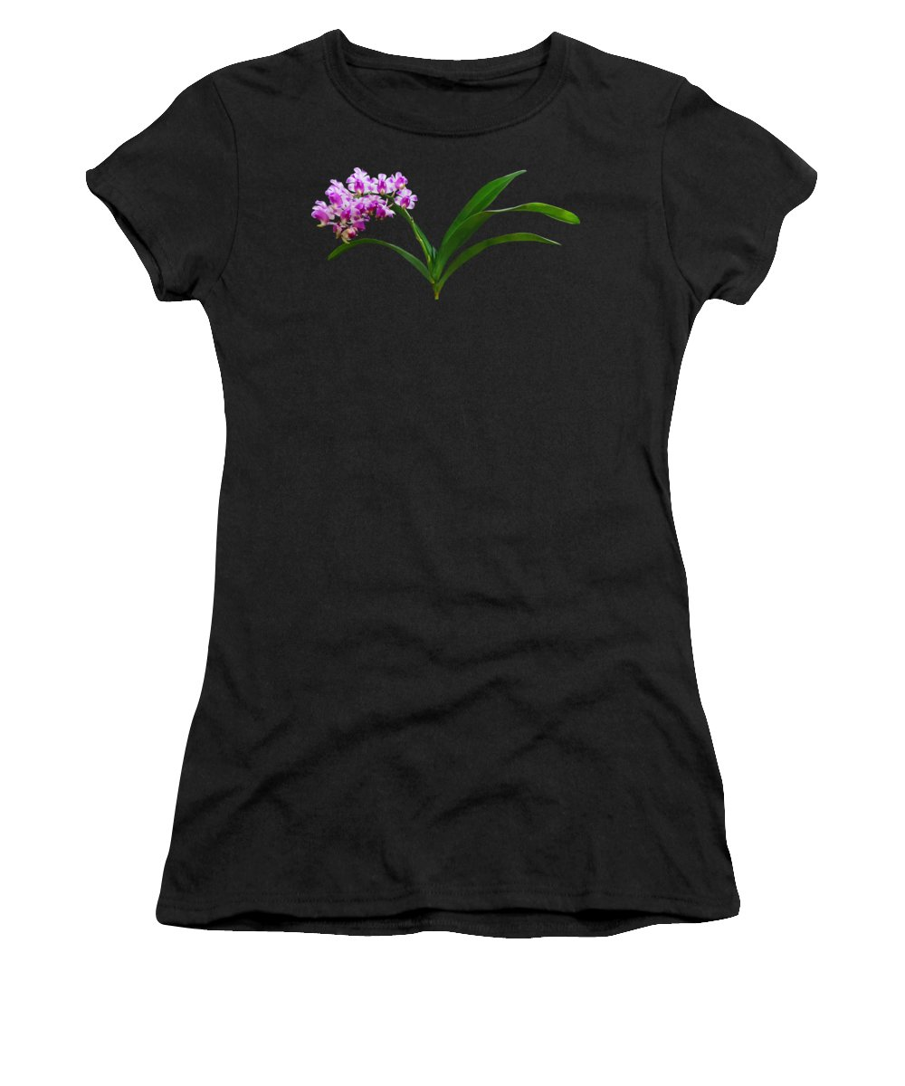 Orchid Women's T-Shirt (Athletic Fit) featuring the photograph Flowers - Aerides Lawrenciae X Odorata Orchid by Susan Savad